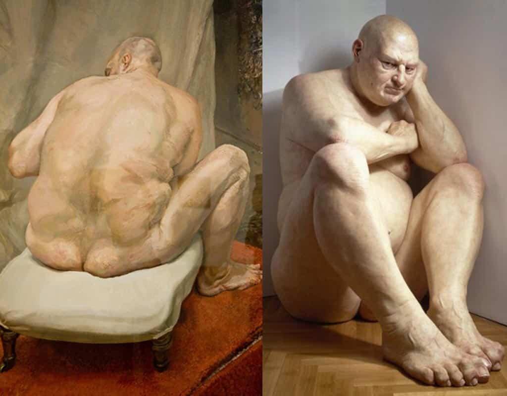 ron mueck, lucian freud, big man, sculpture, hyperralism